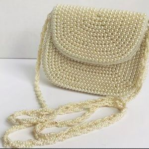 La Regale LTD. Purse Womens Ivory Pearls Handmade